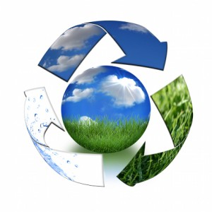Abstract Recycling Symbol Representing Air, Land and Sea Surrounding Planet Earth